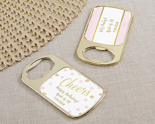 Personalized Gold Bottle Opener with Epoxy Dome - Birthday For Her