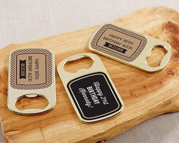 Personalized Gold Bottle Opener with Epoxy Dome - Boozie Birthday