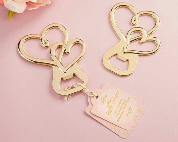 Gold Double Heart Bottle Opener
