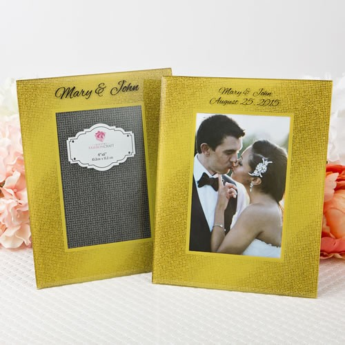 """Silk- Screened Personalized Gold Wide border beveled Glass frame  4"""" x 6"""""""