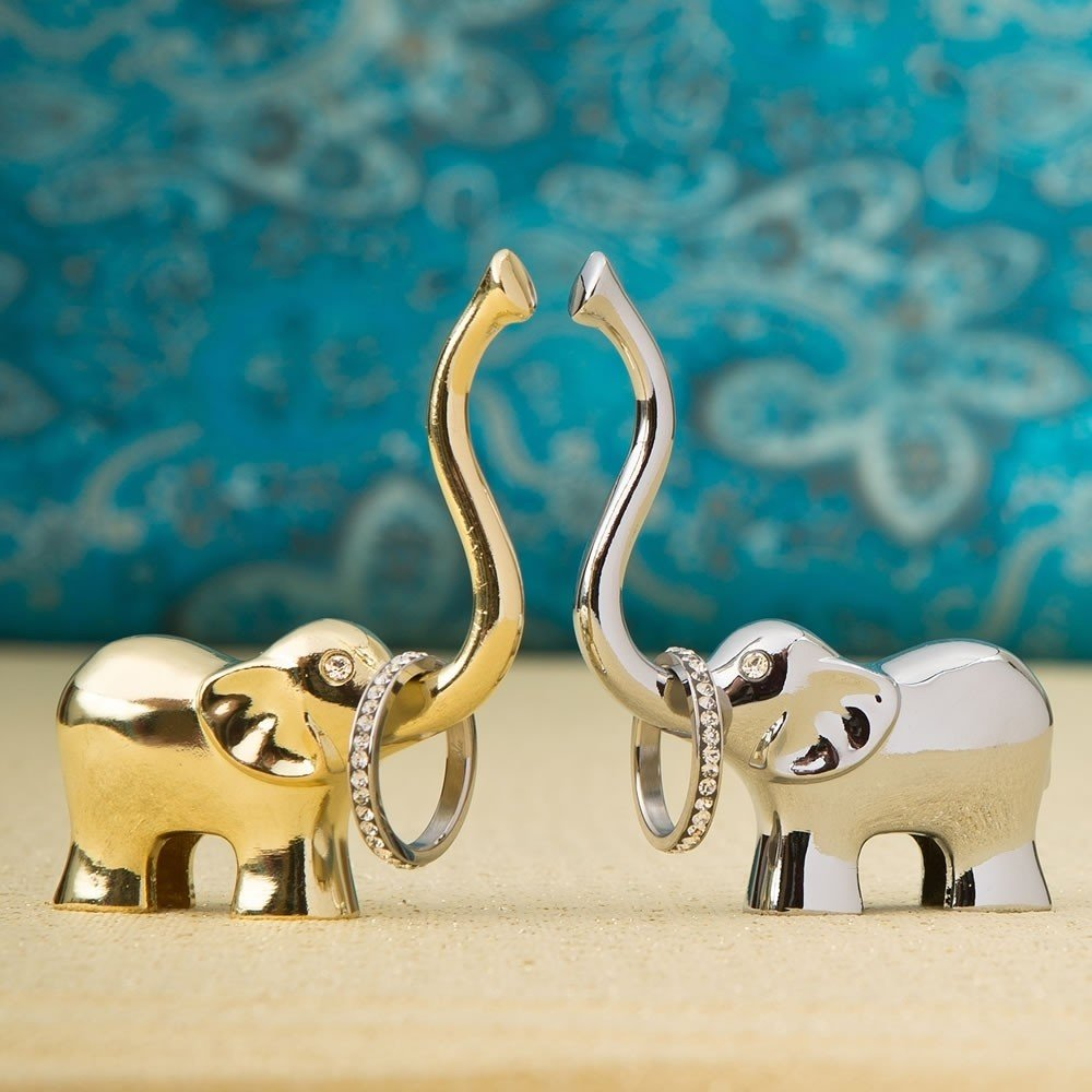 Lucky Elephant ring holder in silver and gold from gifts by fashioncraft
