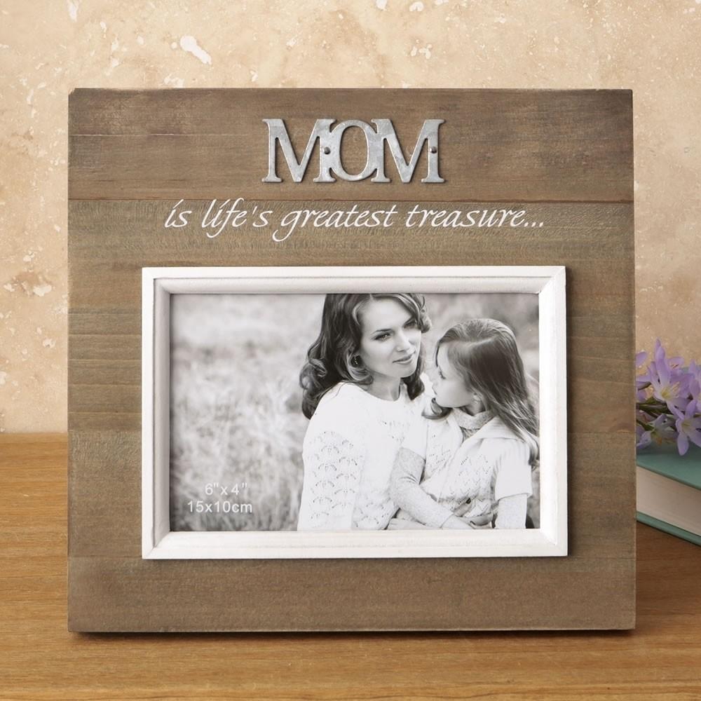 wood frame with raised metal words 6 x 4 mom