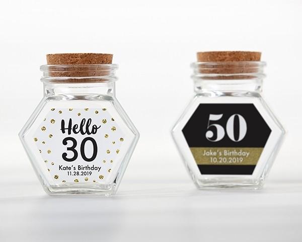 Personalized Glass Hexagon Jar - Milestone Birthday (Set of 12)