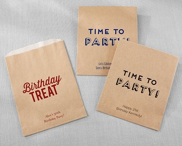 Personalized Kraft Goodie Bags - Boozie Birthday (Set of 12)