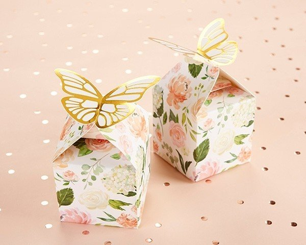 Butterfly Floral Favor Box (Set of 12)