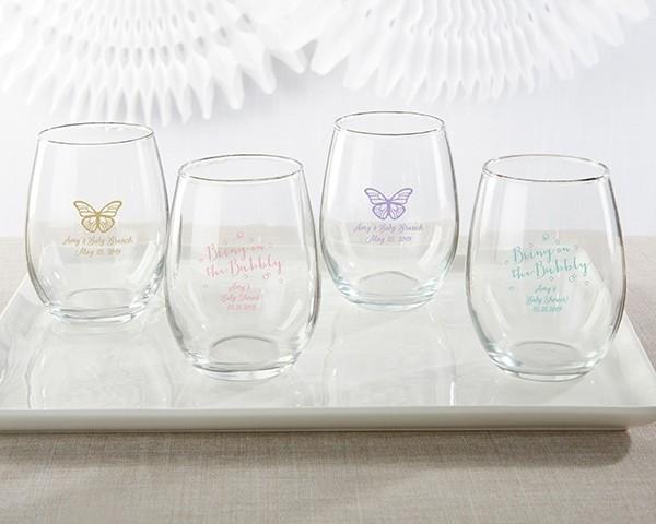 Personalized 9 oz. Stemless Wine Glass - Baby Brunch