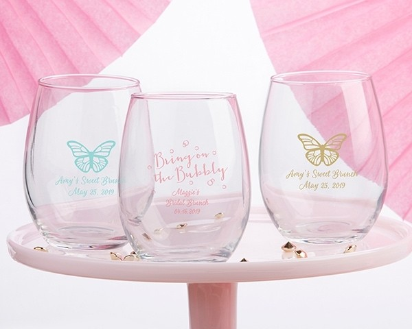 Personalized 9 oz. Stemless Wine Glass - Bridal Brunch