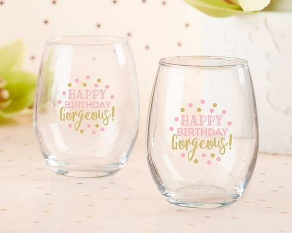 Birthday For Her 15 oz. Stemless Wine Glass (Set of 4)
