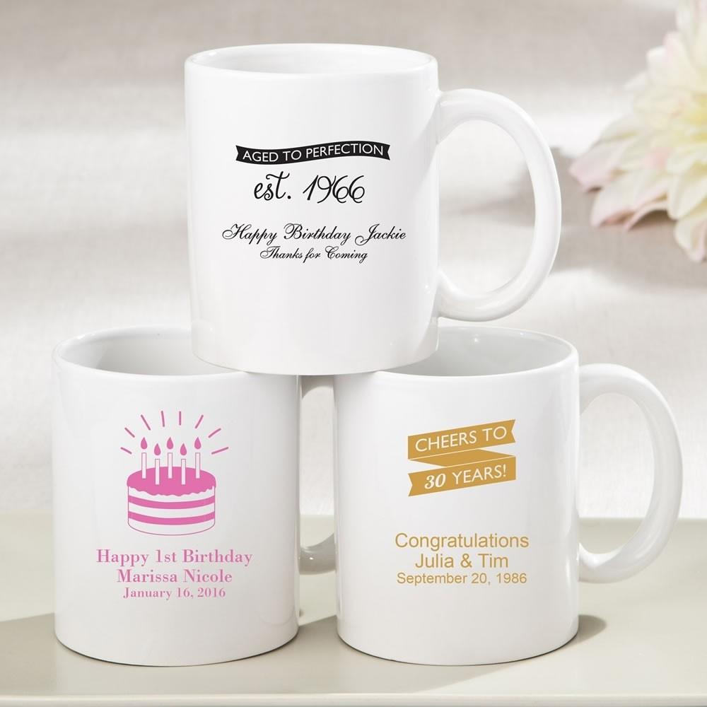 Personalized White ceramic coffee mug - birthday design