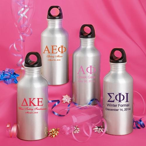 Personalized  Metal Water Bottle Favors: Greek Designs