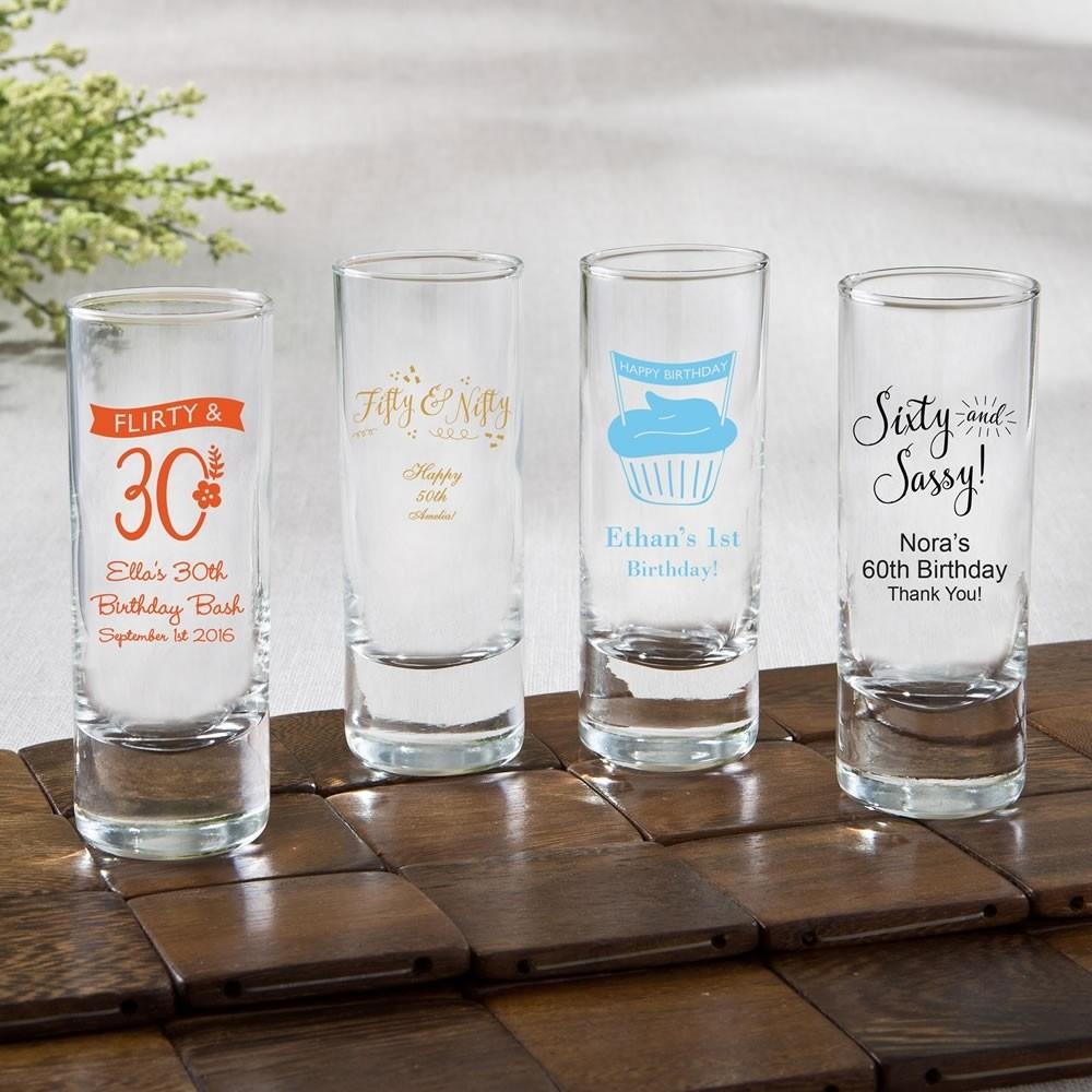 Personalized Fun 2 oz shooter glasses - birthday design