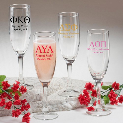 Champagne Flute: Greek Designs (gift boxes available)