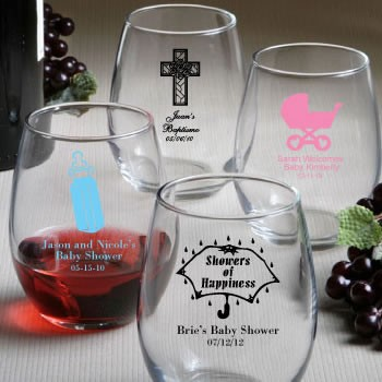 0cca88d8bbf Personalized Stemless Wine Glasses (gift boxes available) - Personalized  Baby Shower - Baby Favors