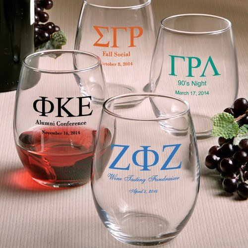Personalized Stemless Wine Glasses Greek Designs Fraternity