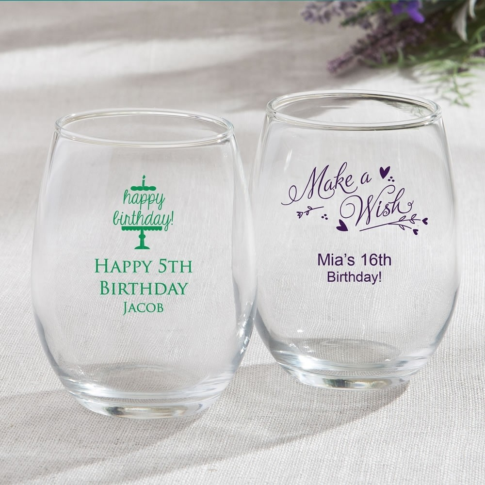 Personalized 15oz Stemless Wine Glasses - birthday design