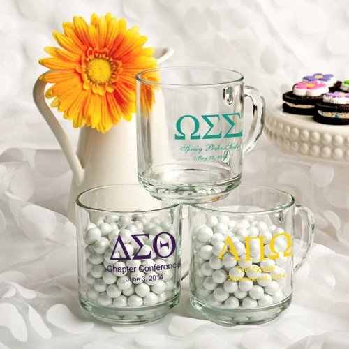 Personalized 10 Oz. Glass Handy Mug Favors: Greek Designs