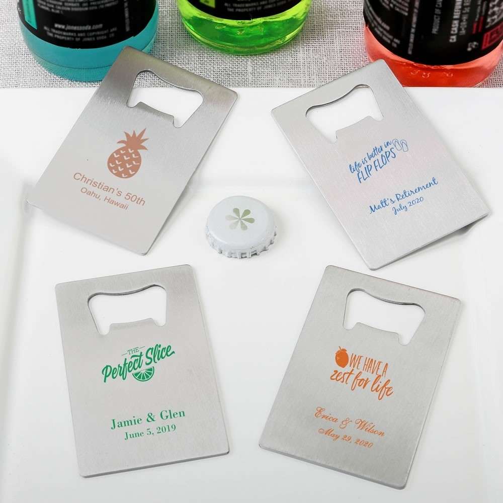 Personalized Tropical themed Credit Card stainless steel bottle opener