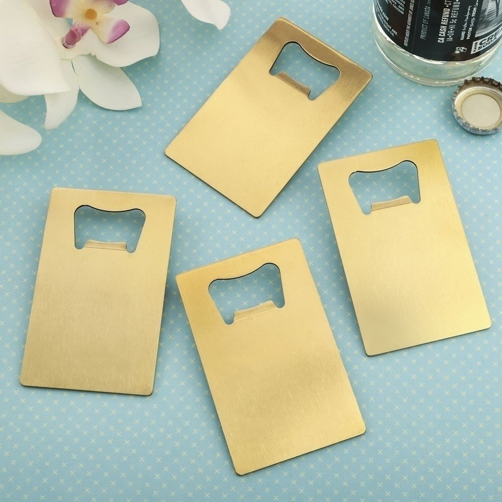 perfectly plain collection - credit card brushed gold stainless steel bottle opener