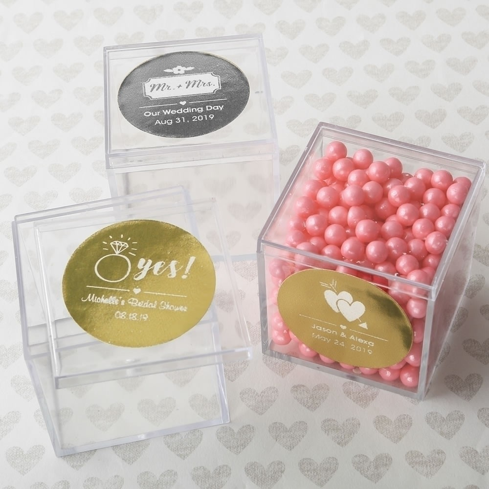 55 Square Acrylic Candy Boxes Birthday Baby Party Wedding DIY Favors