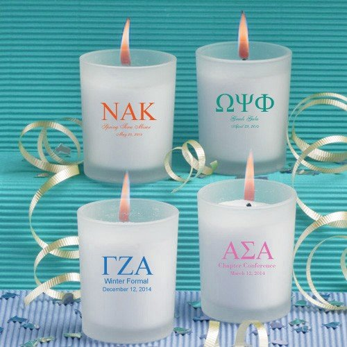 Frosted Glass Candle Holder With Wax Greek Designs