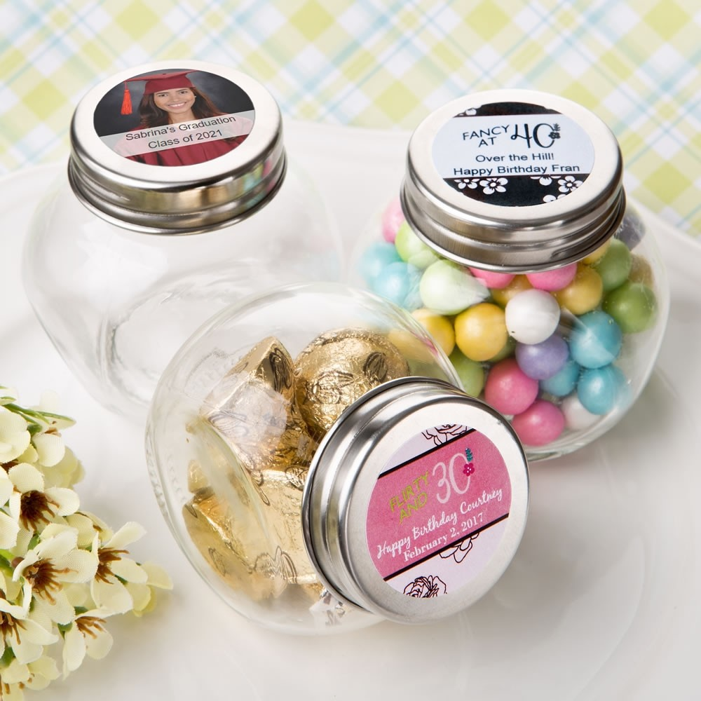 Personalized candy glass jar - birthday design