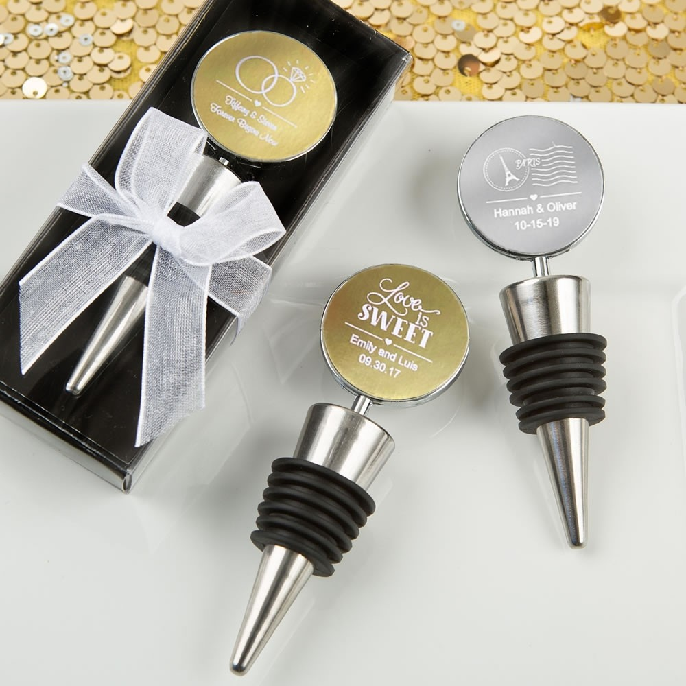 Wine bottle stoppers from our Personalized Metallics Collection