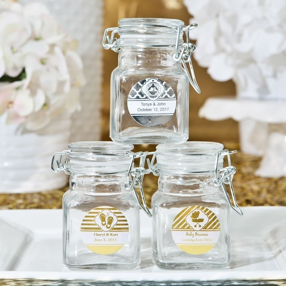 Apothecary Jars with hinged lid from our Personalized Metallics Collection