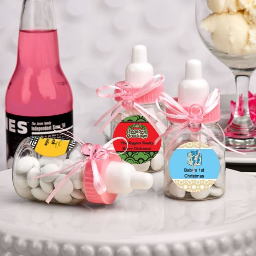 Design Your Own Collection Pink Baby Bottle Favors - Holiday Themed