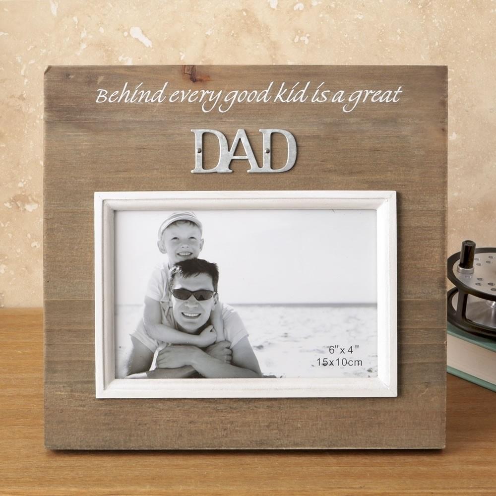Wood frame with raised metal words - 6 x 4 - DAD - Wedding