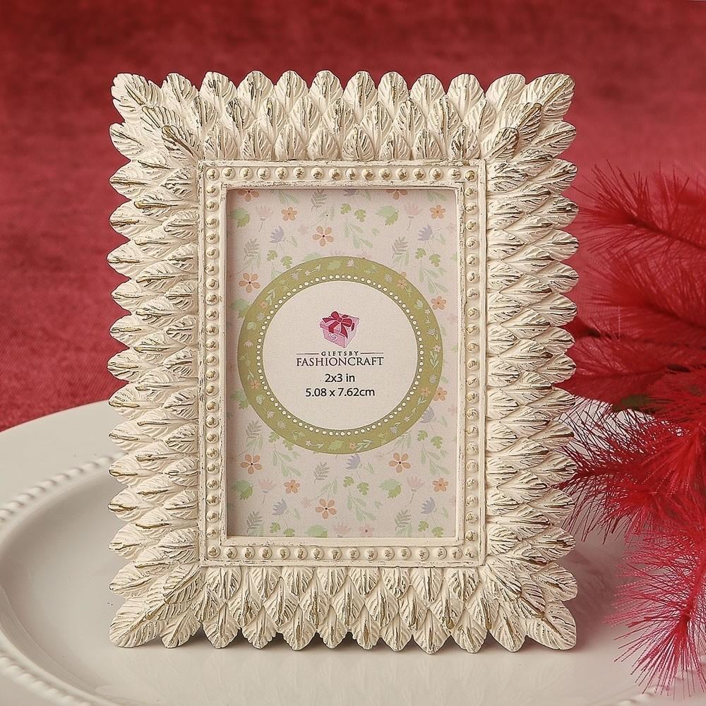 Ivory and brushed Gold leaf design place card frame / photo frame