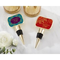 Personalized Gold Bottle Stopper with Epoxy Dome - Indian Jewel