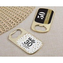 Personalized Gold Bottle Opener with Epoxy Dome - Milestone Birthday