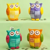 Multicolored ceramic owl banks