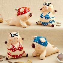 Multicolored ceramic little piggy banks