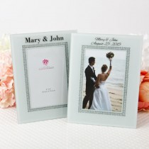 Silk-Screened personalized  White Glass Frame with Silver