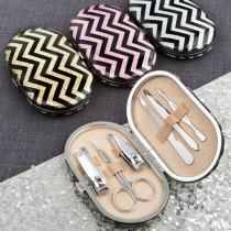 Stunning glittery travel manicure set with chevron design