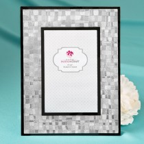 Elegant Silver 4 x 6 Mosaic frame with glass and black borders