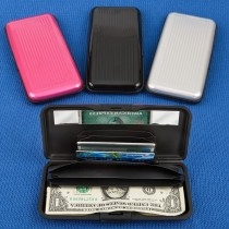 Large aluminum wallets in solid colors from gifts by fashioncraft