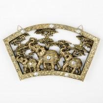 "Stunning Triple elephant plaque - 16 3/4"" long"