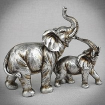 Antique silver elephants - set of 2 attached