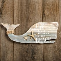 Whale wall plaque with starfish and rope from Gifts By Fashioncraft