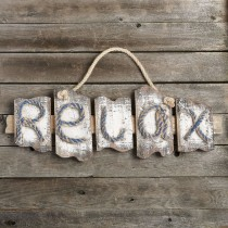 RELAX distressed wall plaque from gifts by fashioncraft