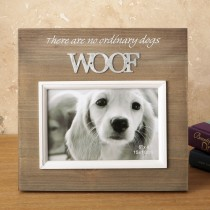Wood frame with raised metal words - 6 x 4 - WOOF