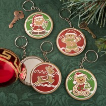 Gingerbread themed holiday pocket mirror with key chain