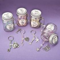 Sentiment flowers Mason Jar with key ring