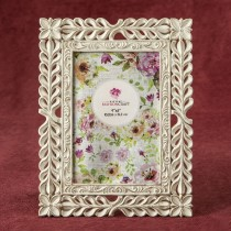 Elegant Ivory with Rose Gold rub Lattice 4 x 6 frame