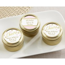 Personalized Gold Round Candy Tin - Birthday For Her (Set of 12)