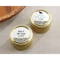 Personalized Gold Round Candy Tin - Safari (Set of 12)