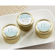 Personalized Gold Round Candy Tin - Seaside Escape (Set of 12)