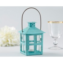 Vintage Blue Distressed Lantern - Medium
